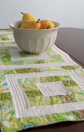 simple modern patchwork table runner - light green and white