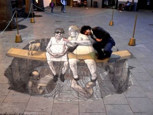 gambar grafiti tidak mungkin, mustahil, luar biasa, ilusi optik
