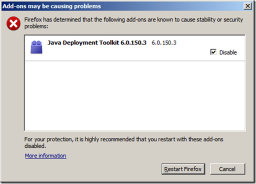Java Development Toolkit issues with Firefox | ejvyas