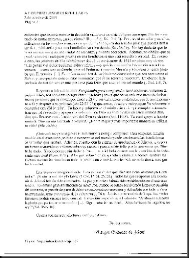 PRECURSORES REGULARES-CARTA SUCURSAL PARA QUE SIGAN EN TIEMPO COMPLETO-OCTUBRE 2009-2