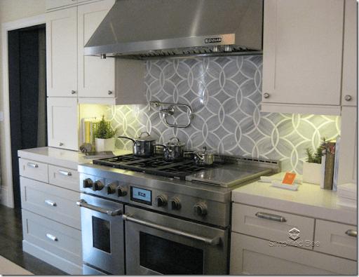 Elle Decor Showhouse Palmer Wiess Kitchen stove backsplash tile