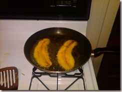 Plantains frying in the skillet