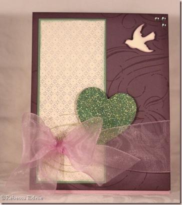 plum heart easel card