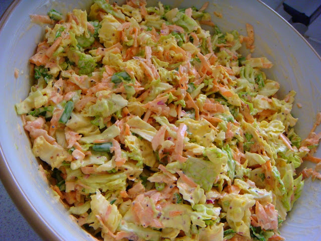 spring onion, mustard and savoy cabbage makes this coleslaw very special