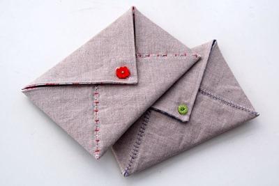 Envelope e mensagem de tecido