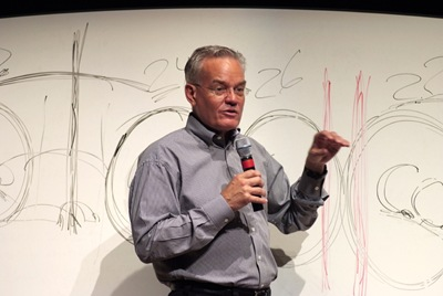 Bill Hybels in front of white board