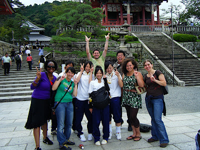 In Kyoto, High School kids wanted a picture with us.