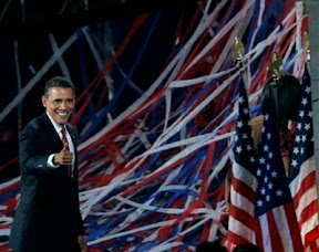 Democratic presidential nominee Sen. Barack Obama, D-Ill., gives a thumbs up after speaking at the Democratic National Convention in Denver, Thursday, Aug. 28, 2008. (AP Photo/Jeff Chiu)