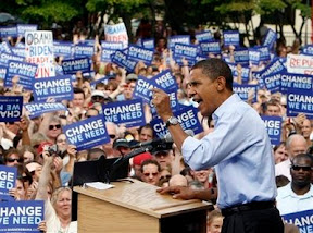 Democratic presidential candidate Sen. Barack Obama, D-Ill. speaks during a rally in Manchester, N.H., Saturday, Sept. 13, 2008. (AP Photo/Chris Carlson)