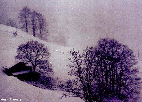 snow fall Swiss alps