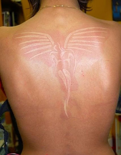 white ink angel tattoos on back