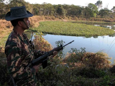 Soldiers of the Indian Border Security Force (IBSF) strict vigil on India-Bangladesh International Border at the village of Dhubri district of Northeastern Indian State, Assam. Photo/Shib Shankar Chatterjee