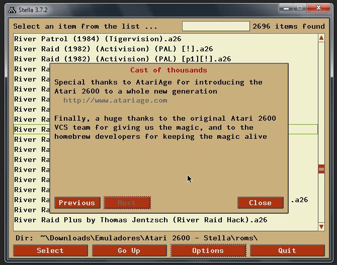 Créditos do emulador Stella