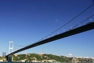 Bosphorus Bridge in Istanbul, connecting Europe and Asia.
