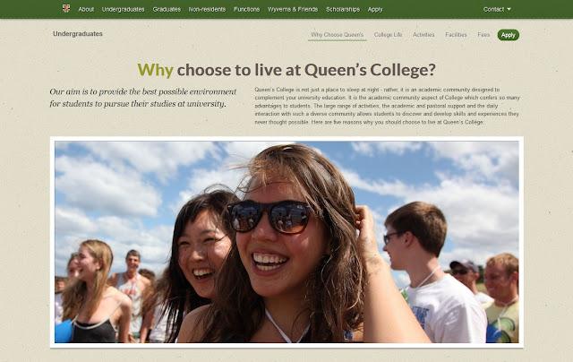 *排版及內容豐富的學院官方網站 Queen's College Web Site 3