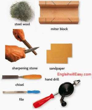 steel wool, miter block, sharpening stone, sandpaper, chisel, hand drill, file