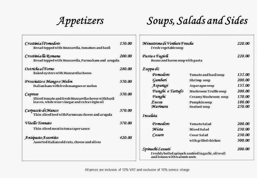 Italian Restaurant Buona Vita Appetizers, Soups, Salads, and Sides
