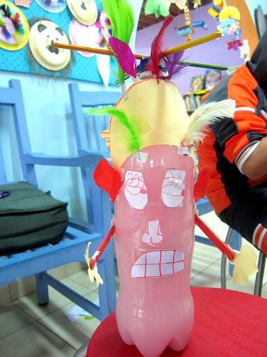 making bottle monster in Banos, Ecuador