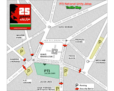 PTI Jalsa route map