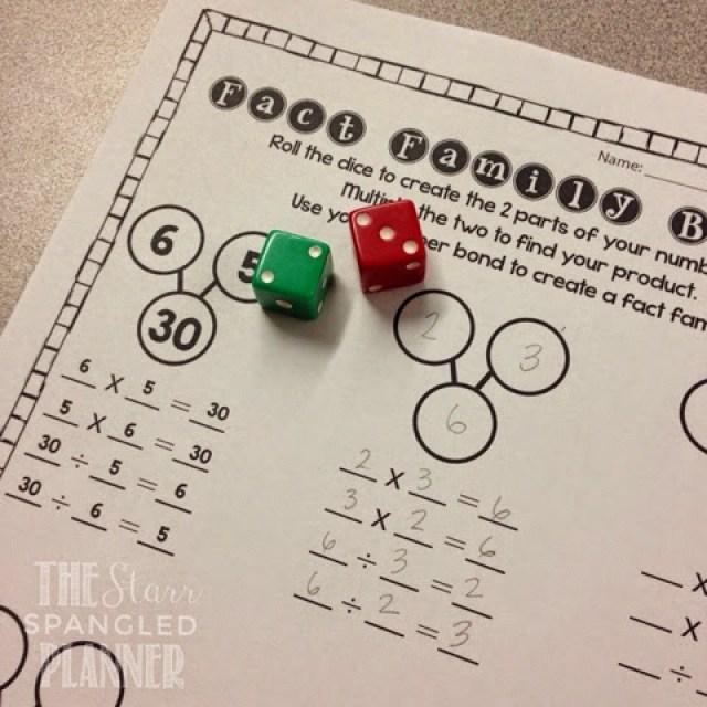 Multiplication Activity- Multiplication and Division Fact Families, Fact Family