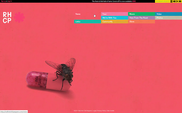 *色彩變化豐富的搖滾樂團網站|Red Hot Chili Peppers Web Site 2