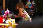 Nadia watching kids  work on their paintings on the Day of the Dead (Dia de los Muertos) in San Miguel de Allende, Mexico.