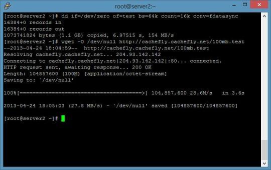Gambar Test Kecepatan Internet dan I/O pada Dedicated Server atau VPS
