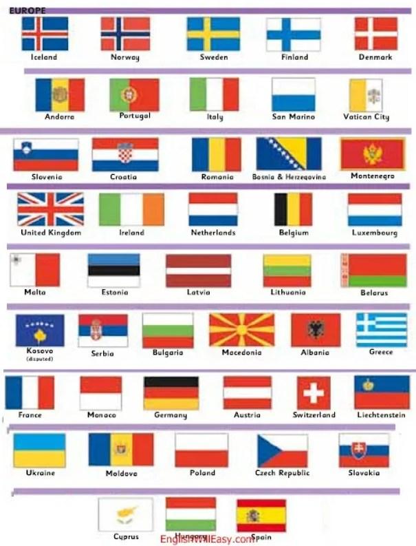ဥရောပအိုက်စလန်, နော်ဝေ, ပြင်သစ်, မိုနာကို, ဂျာမနီ, သြစတြီးယား, ဆွစ်ဇာလန်, လီချင်စတိန်း, စပိန်, အင်ဒိုရာ, ပေါ်တူဂီ, ယူကရိန်း, မော်လ်ဒိုဗာ, ပိုလန်, ချက်သမ္မတနိုင်ငံ, လိုဗက်ကီးယား, ဟန်ဂေရီ, ဆလိုဗေးနီး, ခရိုအေးရှား, ဆိုက်ပရပ်စ်, ဆွီဒင်, ဖင်လန်, ဒိန်းမတ်, ယူနိုက်တက်ကင်းဒမ်း , အိုင်ယာလန်, နယ်သာလန်, ဘယ်လ်ဂျီယံ, လူဇင်ဘတ်, အီတလီ, ဆန်မာရီနို, ဗာတီကန်စီးတီး, မော်လ်တာ, စတိုးနီးယား, လတ်ဗီးယား, လစ်သူ, ဘီလာရုစ်, ရိုမေးနီးယား, ဘော့စနီးယား & ဟာဇီဂိုဗီးနား, မွန်တီနီဂရိုး, ကိုဆိုဗို (အငြင်းပွား), ဆားဘီးယား, ဘူလ်ဂေးရီးယား, မက်ဆီဒိုးနီးယား, အယ်လ်ဘေးနီးယား, ဂရိ,