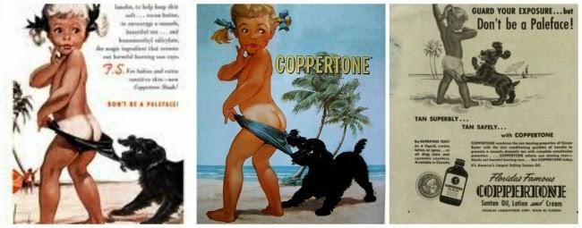 anúncio coppertone menina cachorrinho