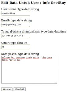 Tampilan Proses Edit PHP MySQL Database Class