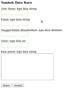 Tampilan Proses Tambah Data PHP MySQL Database Class