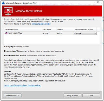 Security Essentials detects Chrome as malware – mynetx