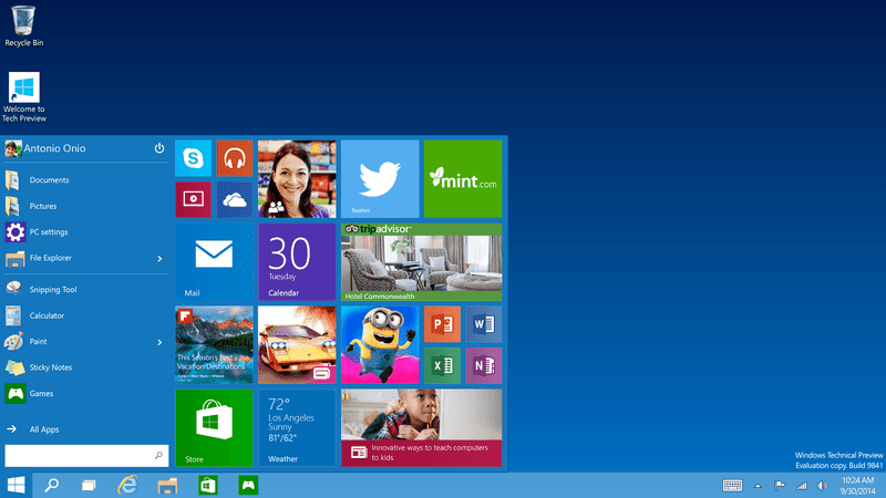 Windows 10 operating system - Desktop Screenshots
