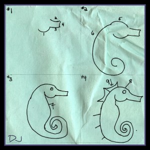 Spittin Toad: Kids Art: Drawing Sea Horses