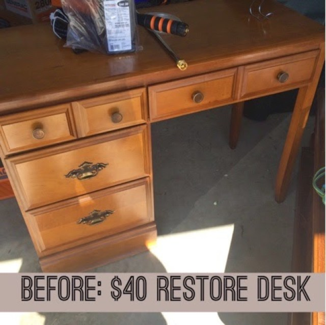 I used this $40 desk that I found at the thrift store and created a beautiful desk for my son to write or play legos/duplos.
