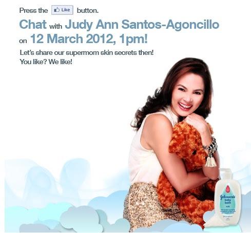 chat with Judy Ann Santos on Johnson's Baby Milk Bath facebook page