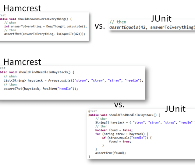 I Totally Agree That The Assertexpected Actual Way Of Junit Reads Bad And Can Cause Confusion Thats Why I Chose To Use Hamcrest Matchers In All But The