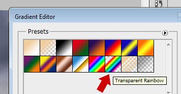 Transparent Rainbow. Este será o degradê que vamos editar