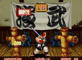 Bônus em Samurai Shodown: cortar os bonecos de palha conforme vão aparecendo