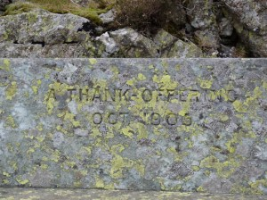 A Thank Offering ? Oct 1905 ... Memorial Seat above Yew Crag.