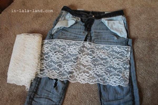 Calça Jeans Customizada Com Renda, Faça A Sua!