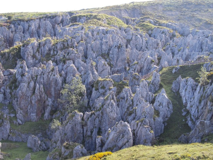 Weird limestone formations near an old mine in Covadonga
