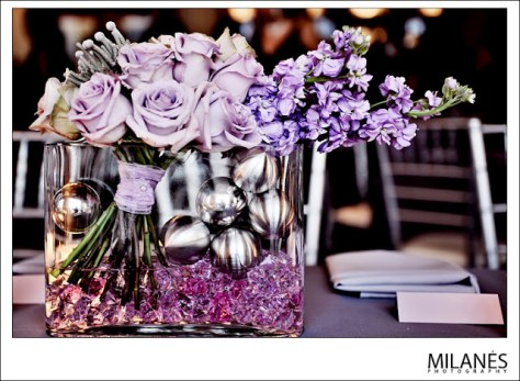 pruple rose centerpieces