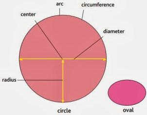 شعاع دایره، مرکز، قوس، دور، قطر، بیضی شکل