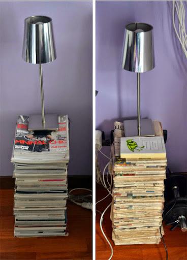 Mesita hecha con revistas y periódicos.