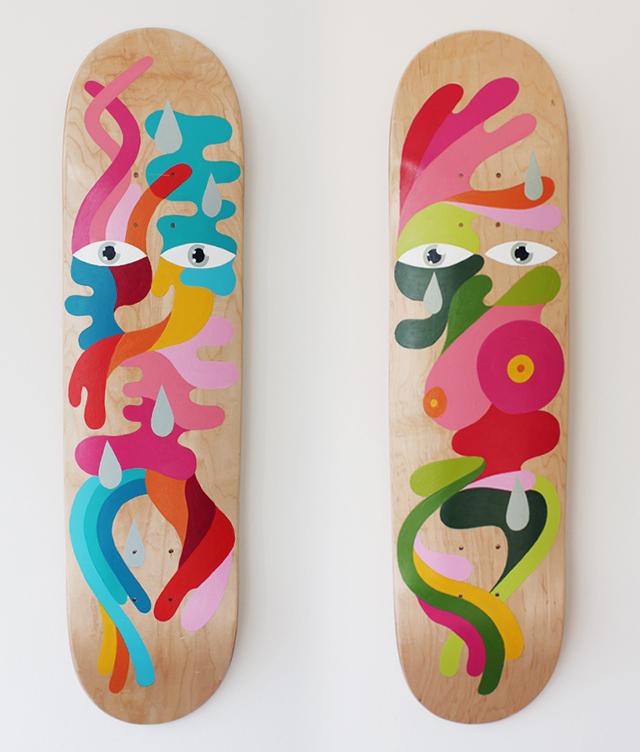 *手繪臉部色塊相拼滑板:藝術家Oli-B幾何創作! 1