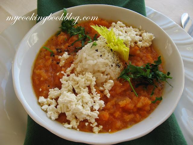 Гъста супа от пресни домати, целина, лук и моркови