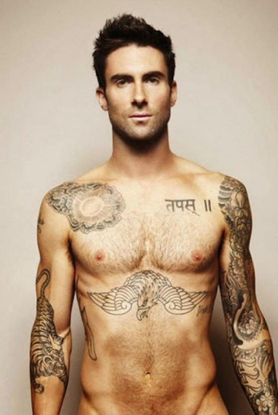 celebrity adam levine Chest Tattoos