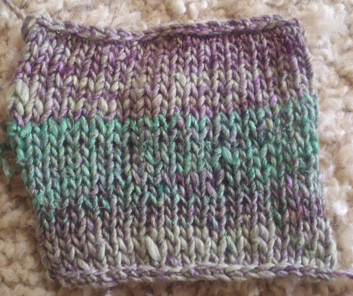 Swatch of Noro Aya (washed & blocked)