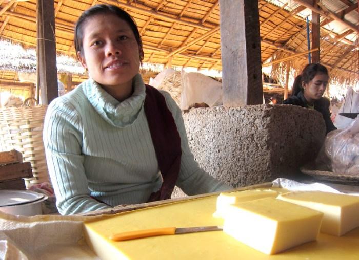 Lady selling Burmese tofu in Inle Lake market